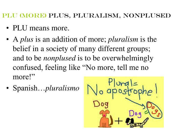 Plu more plus pluralism nonplused