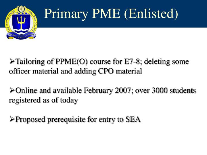 Primary PME (Enlisted)
