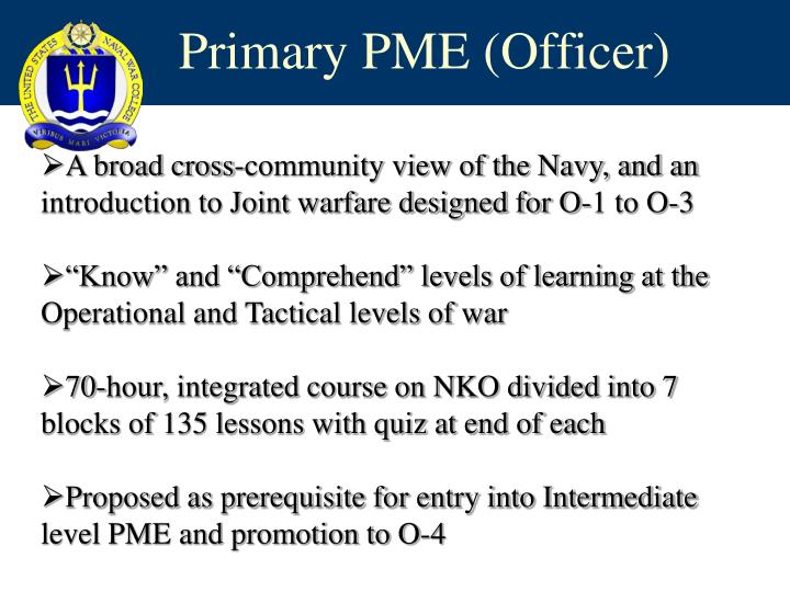 Primary PME (Officer)