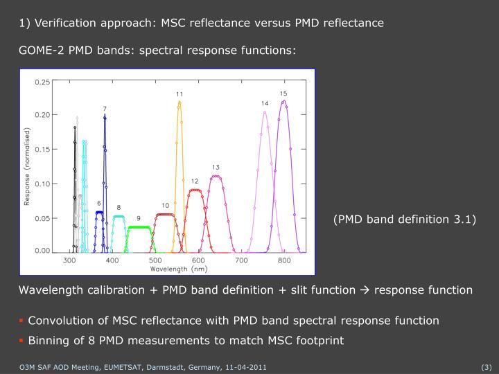 1) Verification approach: MSC reflectance versus PMD reflectance