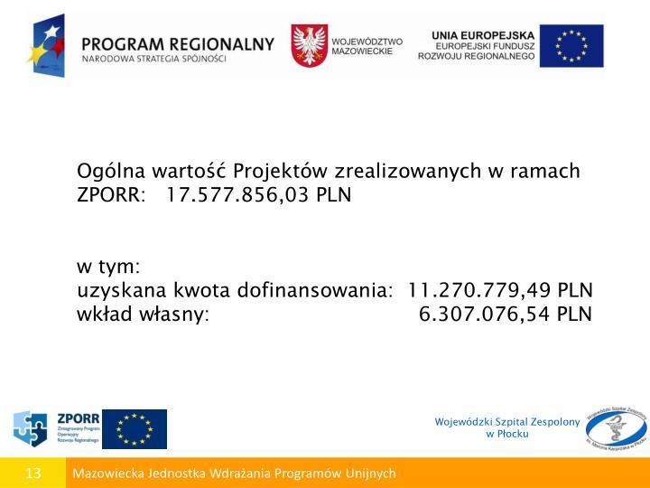 Ogólna wartość Projektów zrealizowanych w ramach ZPORR:   17.577.856,03 PLN