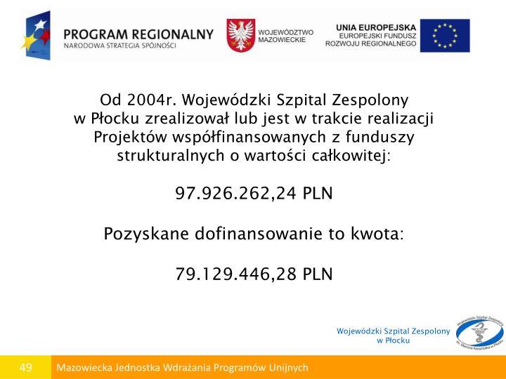 Od 2004r. Wojewódzki Szpital Zespolony