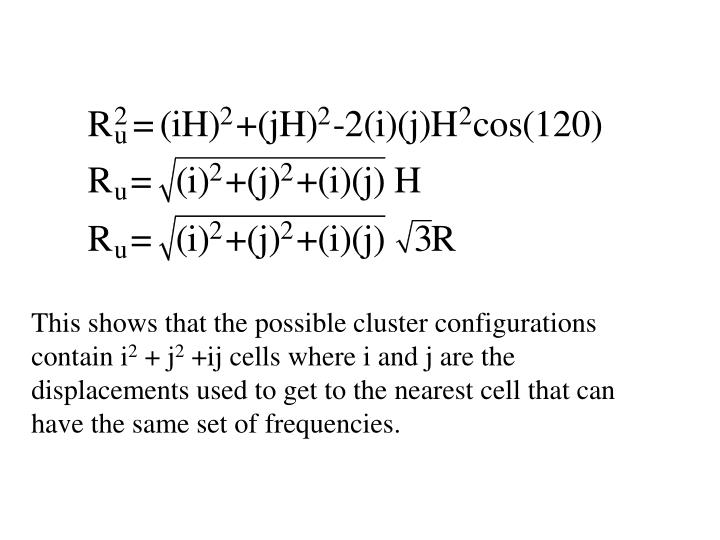 This shows that the possible cluster configurations contain i