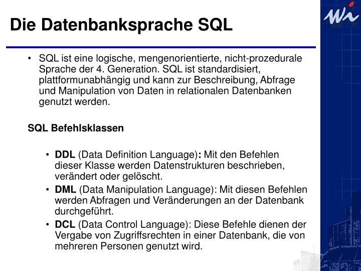 Die Datenbanksprache SQL