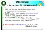 db content for sensor minissensor