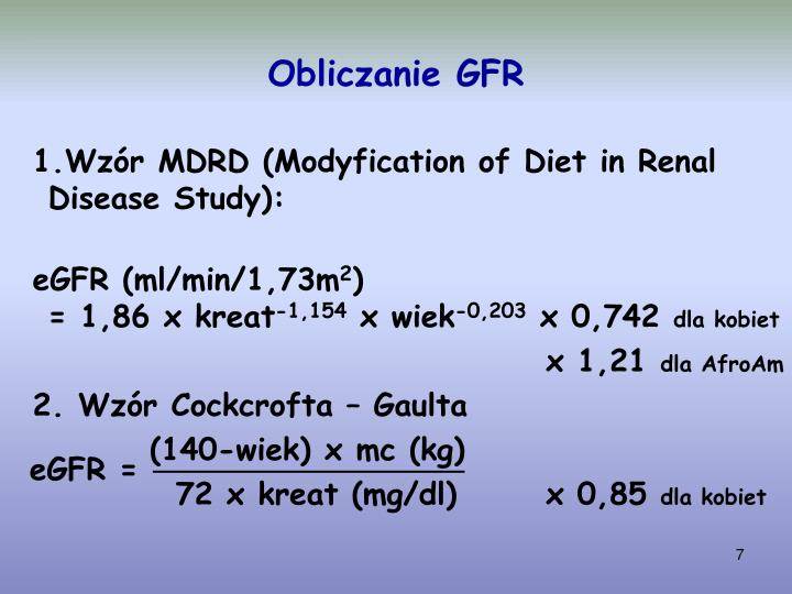 Obliczanie GFR
