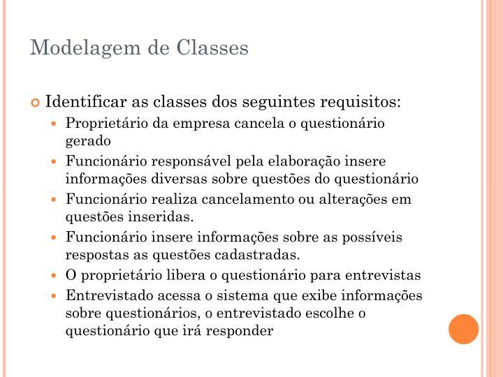 Modelagem de Classes