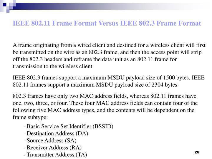 IEEE 802.11 Frame Format Versus IEEE 802.3 Frame Format