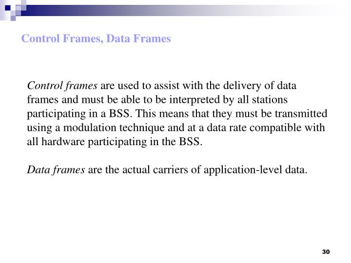 Control Frames, Data Frames