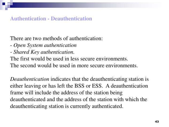 Authentication - Deauthentication