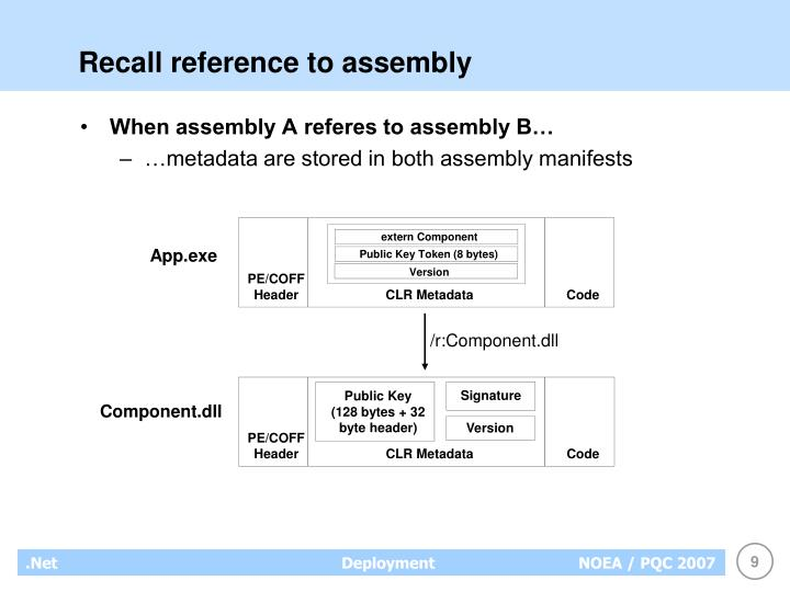 Recall reference to assembly
