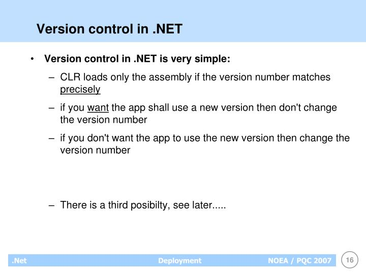 Version control in .NET