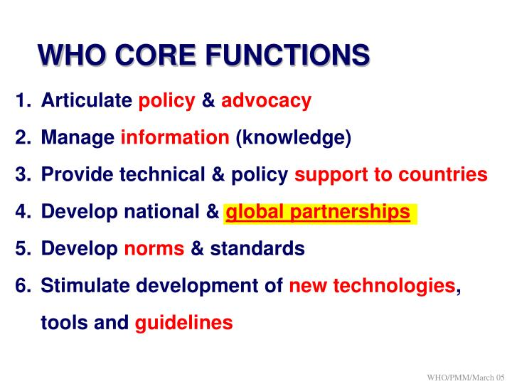 WHO CORE FUNCTIONS