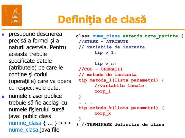 Definiţia de clasă