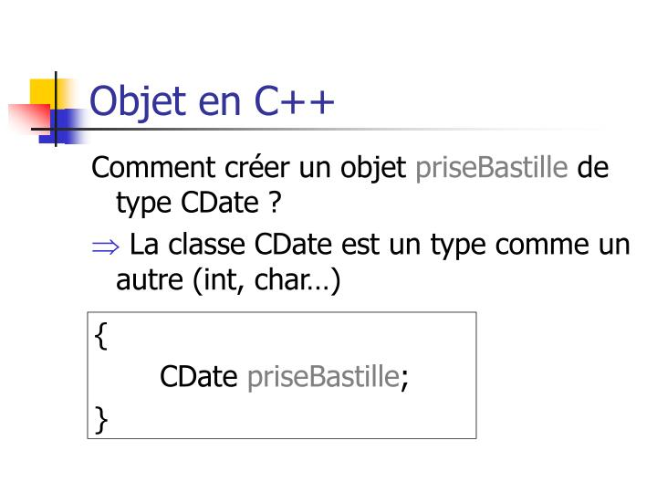 Objet en C++