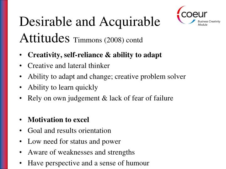 Desirable and Acquirable Attitudes