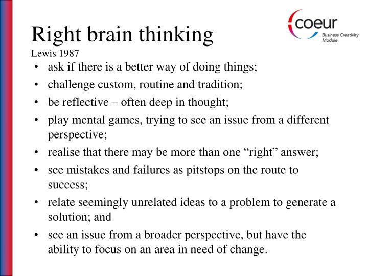 Right brain thinking