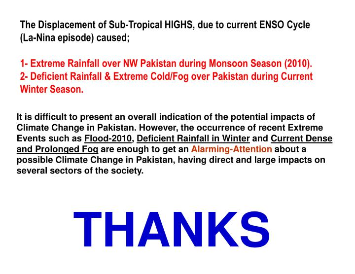 The Displacement of Sub-Tropical HIGHS, due to current ENSO Cycle