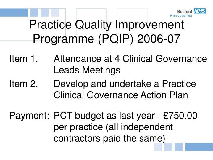 Practice Quality Improvement Programme (PQIP) 2006-07