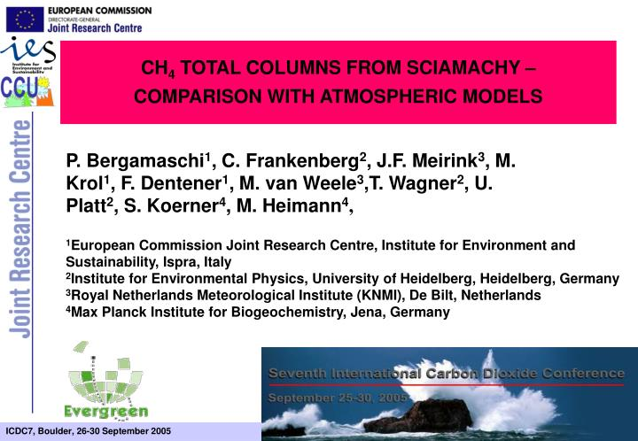 Ch 4 total columns from sciamachy comparison with atmospheric models