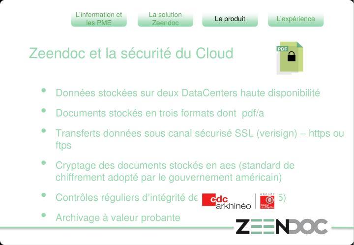 Zeendoc et la sécurité du Cloud