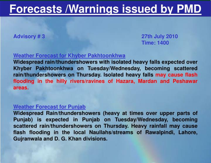 Forecasts /Warnings issued by PMD