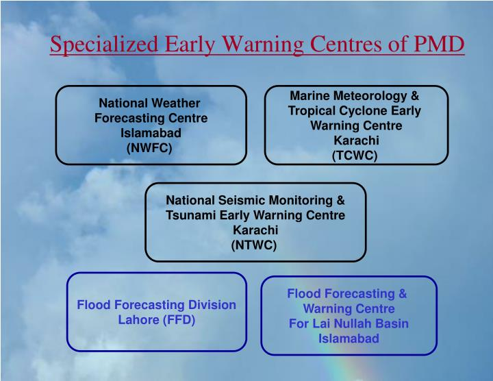 Specialized early warning centres of pmd