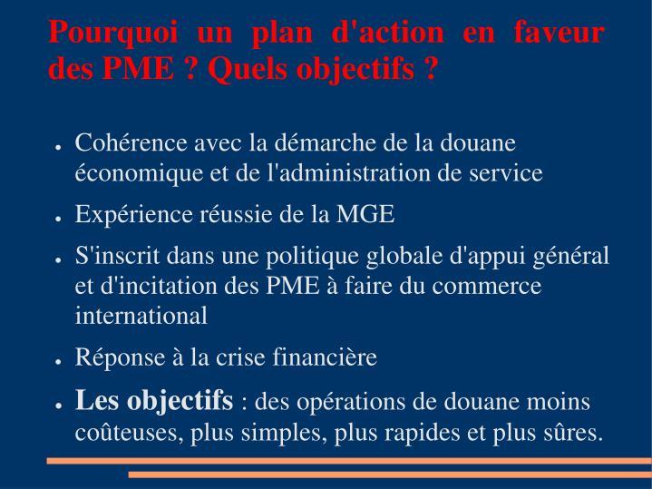Pourquoi un plan d'action en faveur des PME ? Quels objectifs ?