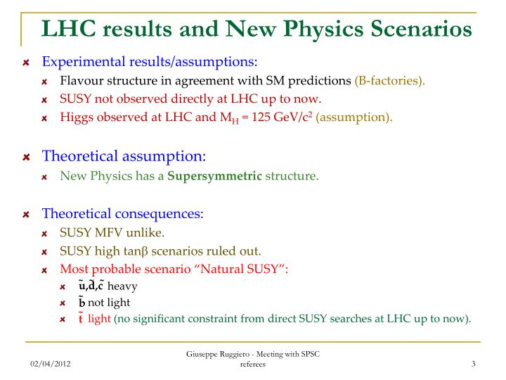 LHC results and New Physics Scenarios