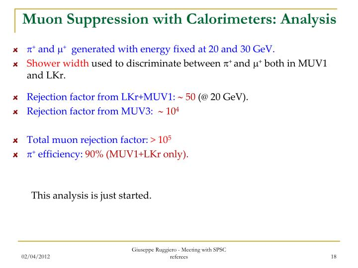 Muon Suppression with Calorimeters: Analysis
