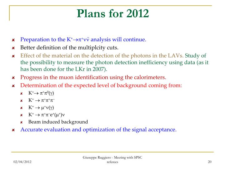 Plans for 2012