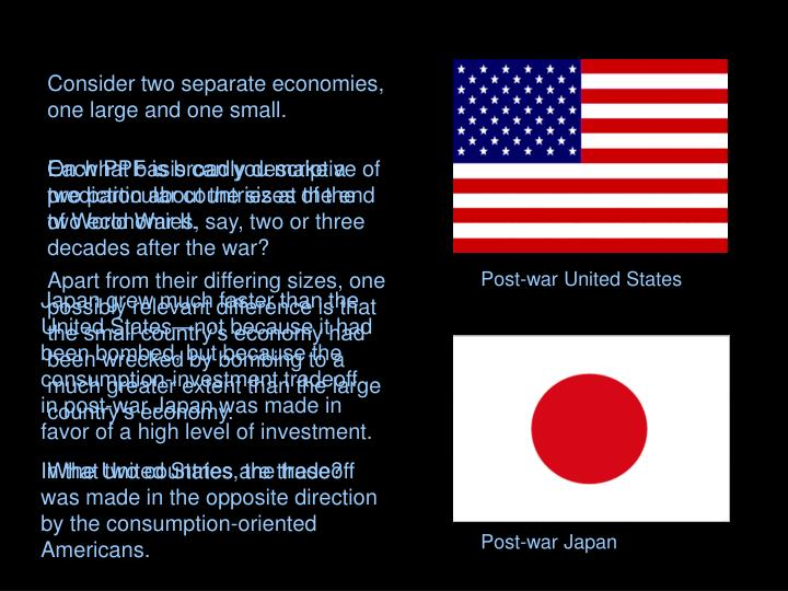 Consider two separate economies, one large and one small.