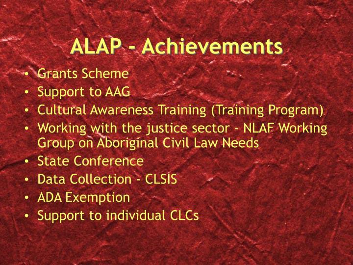 ALAP - Achievements