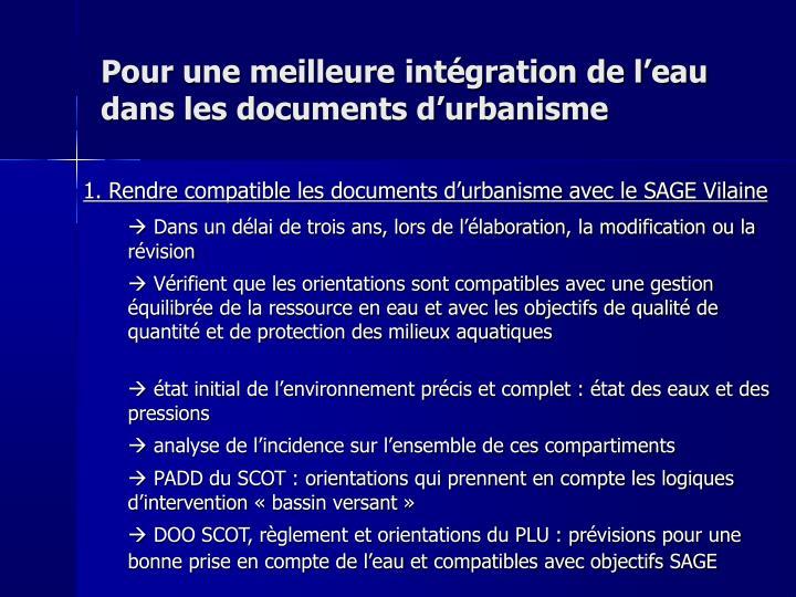 Pour une meilleure intégration de l'eau dans les documents d'urbanisme