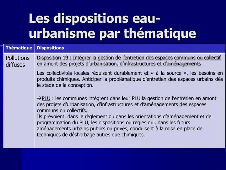 Les dispositions eau-urbanisme par thématique