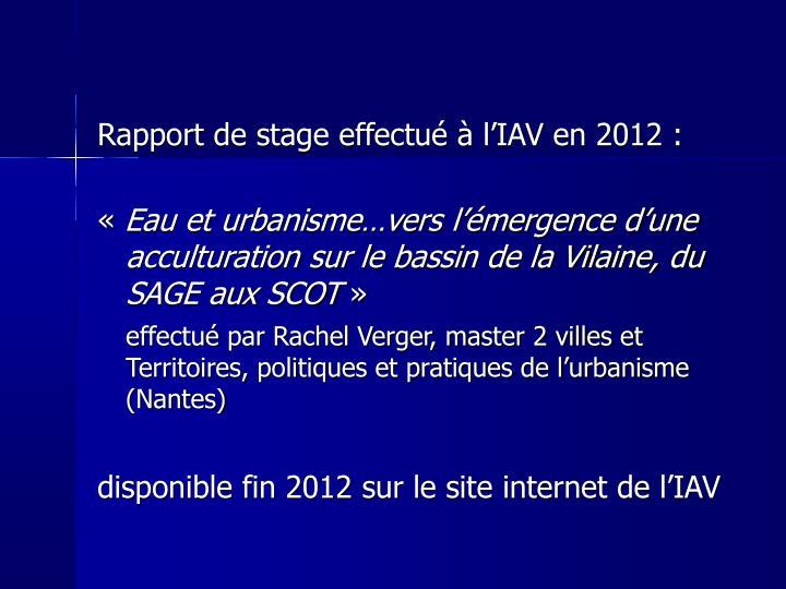 Rapport de stage effectué à l'IAV en 2012 :