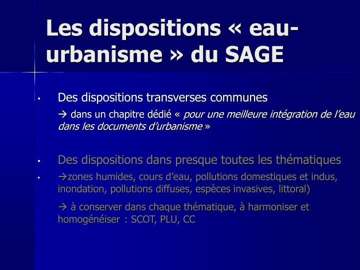 Les dispositions «eau-urbanisme» du SAGE