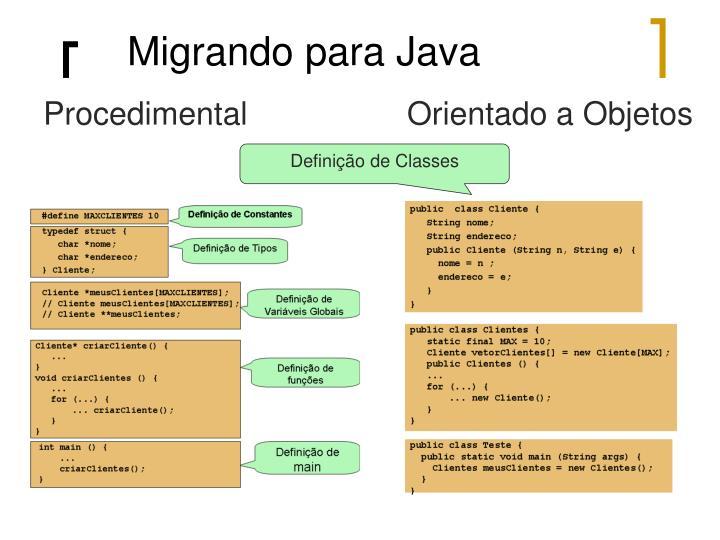 Migrando para Java