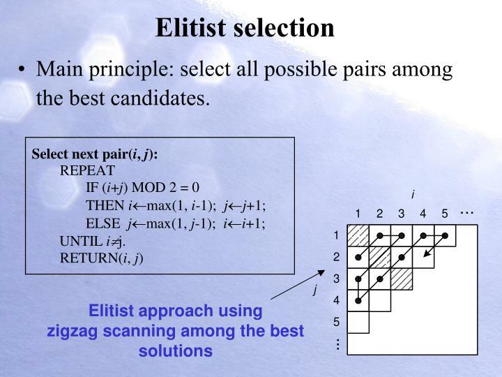 Elitist selection