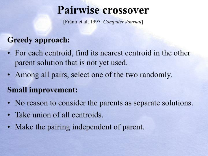 Pairwise crossover