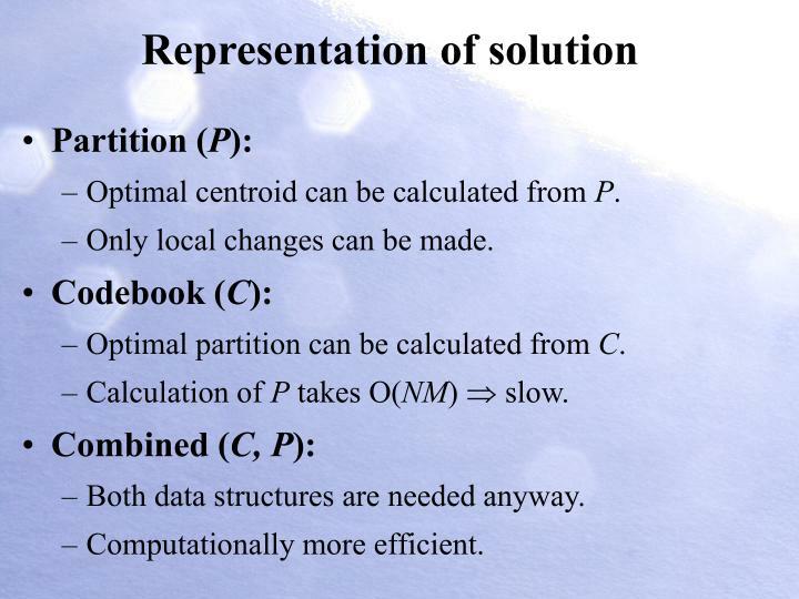 Representation of solution