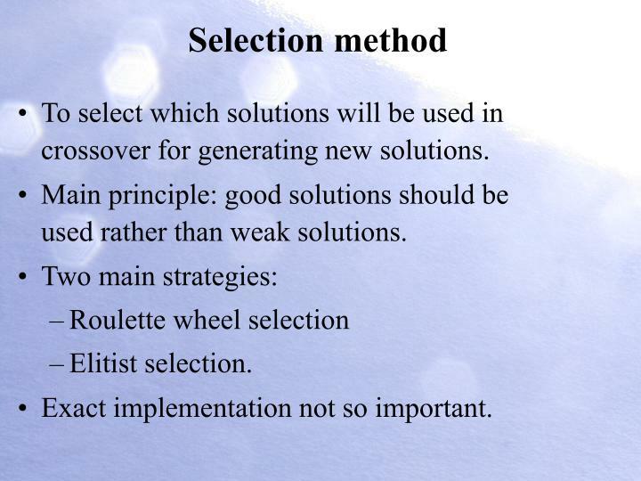 Selection method