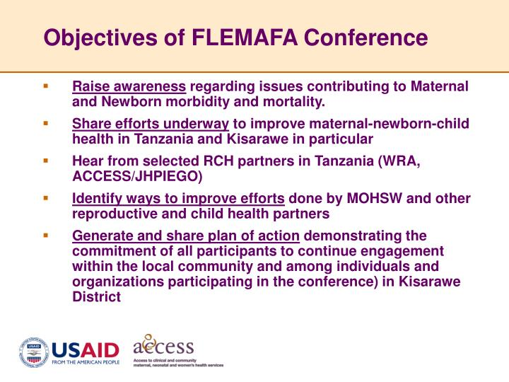 Objectives of flemafa conference