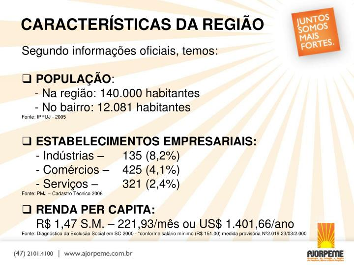 CARACTERÍSTICAS DA REGIÃO