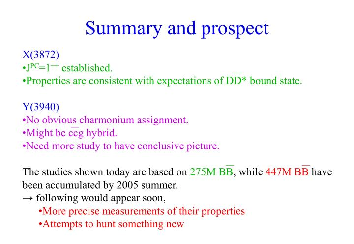 Summary and prospect