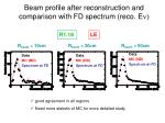 beam profile after reconstruction and comparison with fd spectrum reco e n