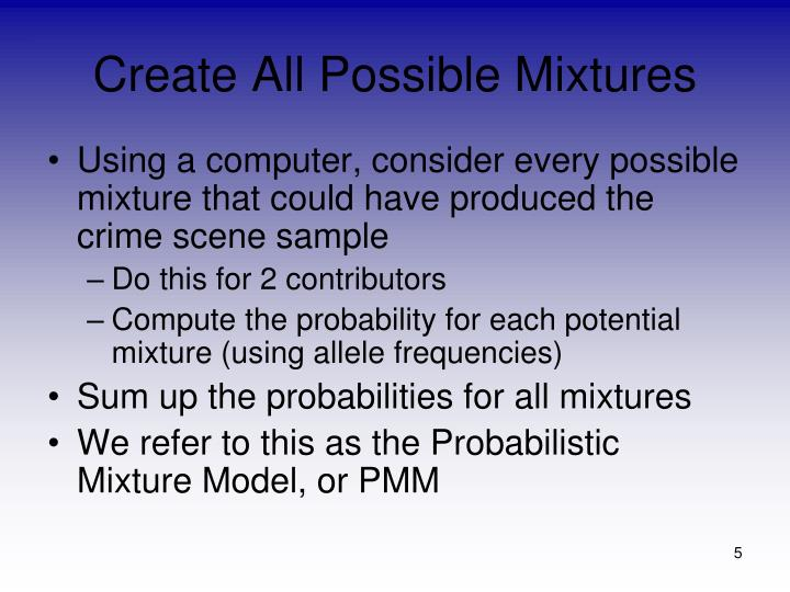 Create All Possible Mixtures