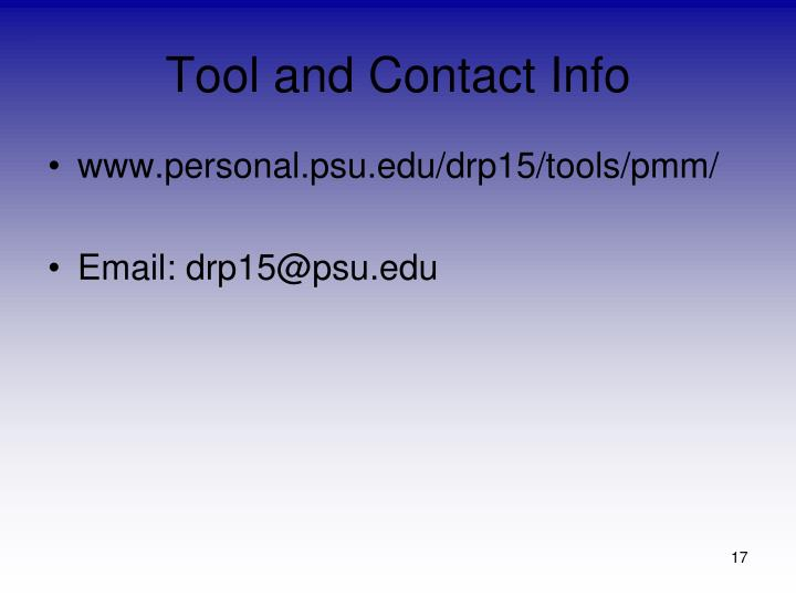 Tool and Contact Info