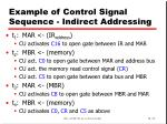 example of control signal sequence indirect addressing
