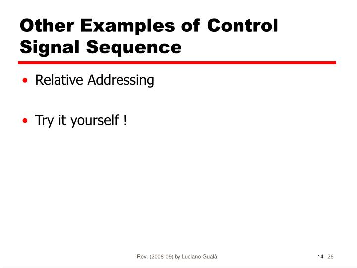 Other Examples of Control Signal Sequence